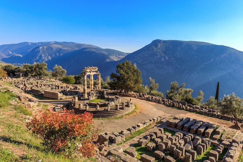 ruins Athina Pronaia temple in Ancient Delphi, Greece