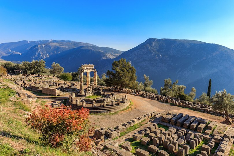 ruins Athina Pronaia temple in Ancient Delphi, Greece